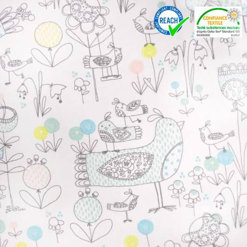 Coton blanc motif faune et flore