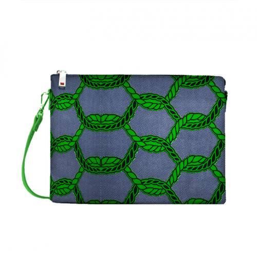 Wax - Tissu africain motif rayure chaine verte 419