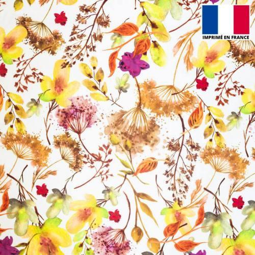 Satin écru imprimé aquarelle de fleurs nuances de jaune et marron