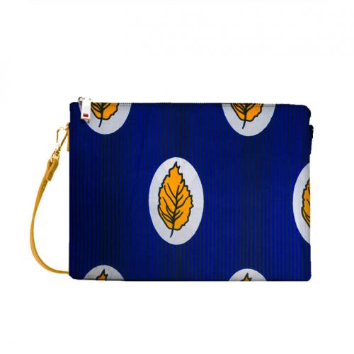 Wax - Tissu africain bleu roi motif rayure feuille jaune 418