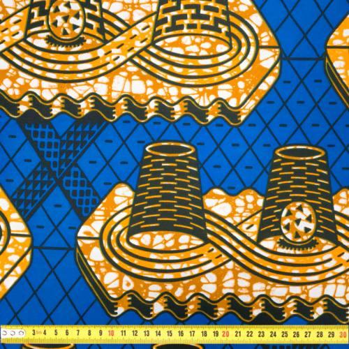 Wax - Tissu africain bleu motif orange et marron 434