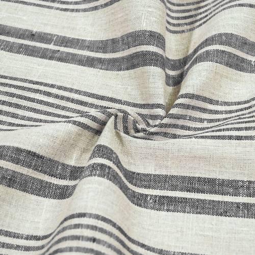 Tissu lin naturel tissage rayures noires