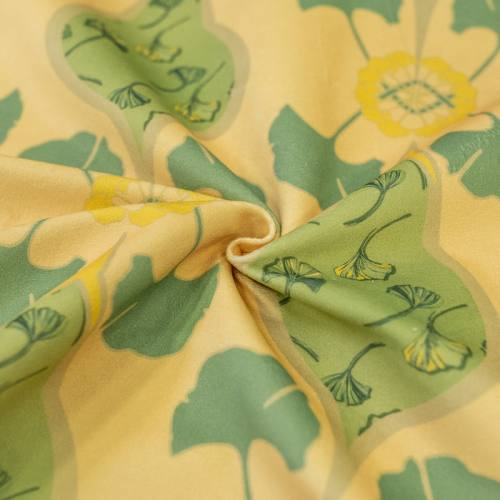 coupon - Coupon 30cm - Velours ras beige imprimé grand ginkgo vert tilleul