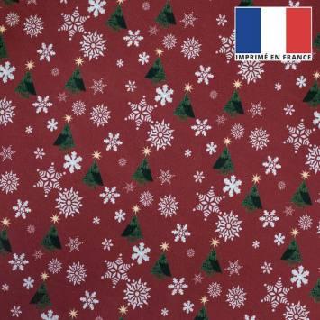 coupon - Coupon 30cm - Velours ras rouge imprimé Noël sapin et flocons