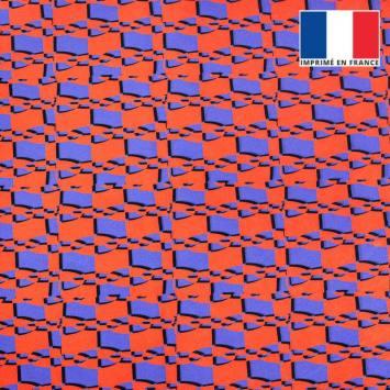 coupon - Coupon 30cm - Velours ras orange et bleu seventies