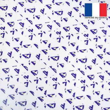 coupon - Coupon 30cm - Velours ras écru motif forme géométrique triangulaire bleue et jaune