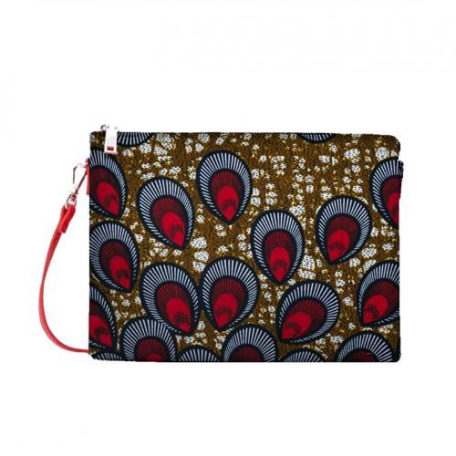 coupon - Coupon 35cm - Wax - Tissu africain marron motif paon rouge 413
