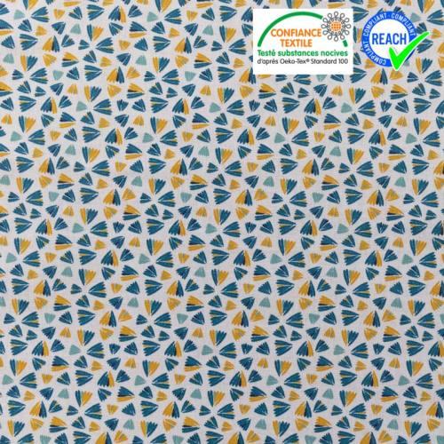 Coton écru imprimé fleur vert d'eau vert pin et ocre