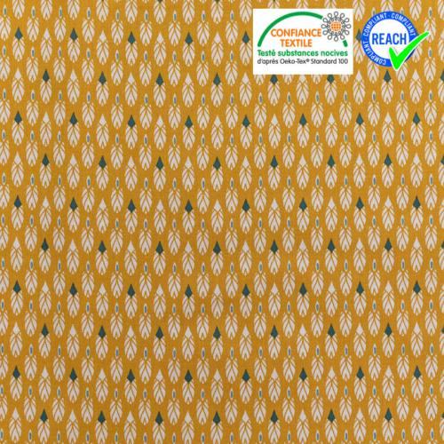 Coton ocre imprimé plume blanche et vert pin