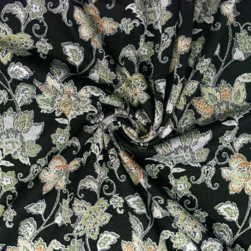 Punto milano noir imprimé fleur arabesque vintage marron et vert