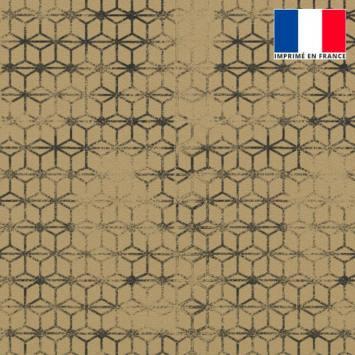 Velours ras beige imprimé assemblage géométrique effacé gris foncé