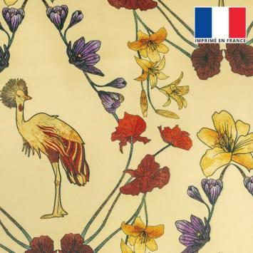 coupon - Coupon 30cm - Velours ras vanille imprimé grue royale et fleurs ocre, rouges et violettes