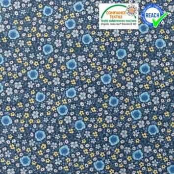 Coton bleu foncé motif fleur anisley