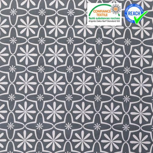 Coton gris acier motif fleurs blanches