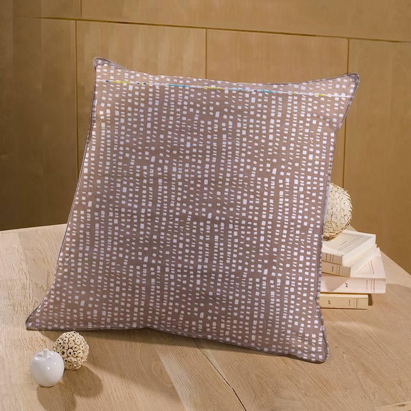 Coton blanc motif sadi taupe