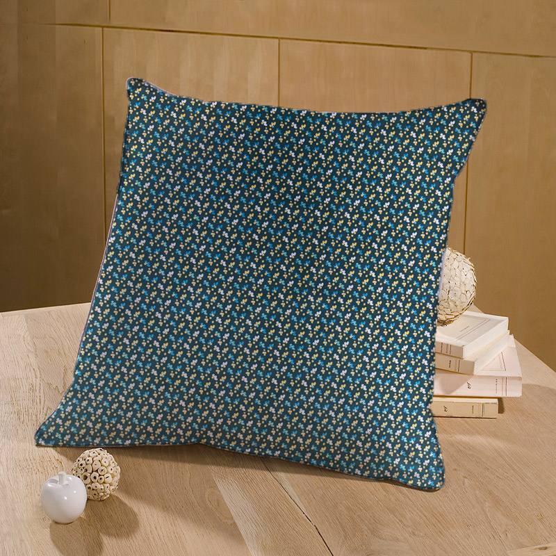 Coton bleu marine motif fimoa fleur ocre et verte