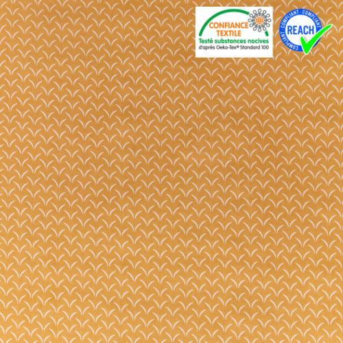 Coton ocre jaune motif herbe blanche cil