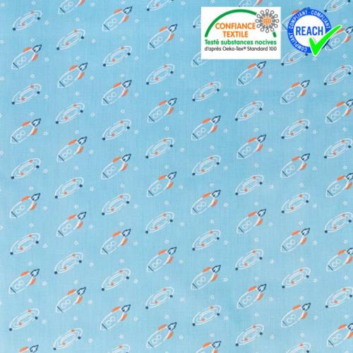 Coton bleu ciel motif fusée