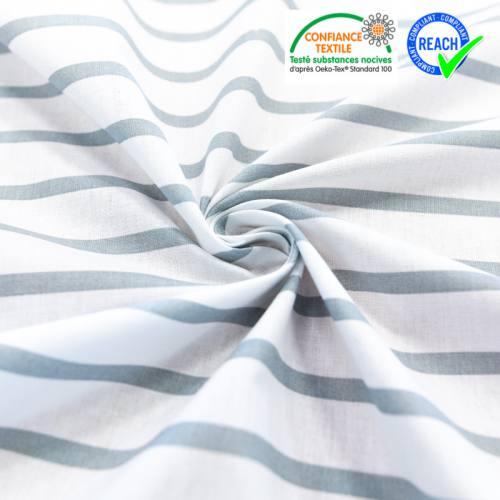 Coton blanc rayé gris