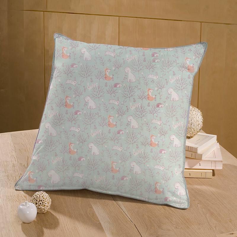 Coton vert sauge motif feuille et lapin rose Mountbatten