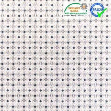 Coton blanc motif againeg noir et gris