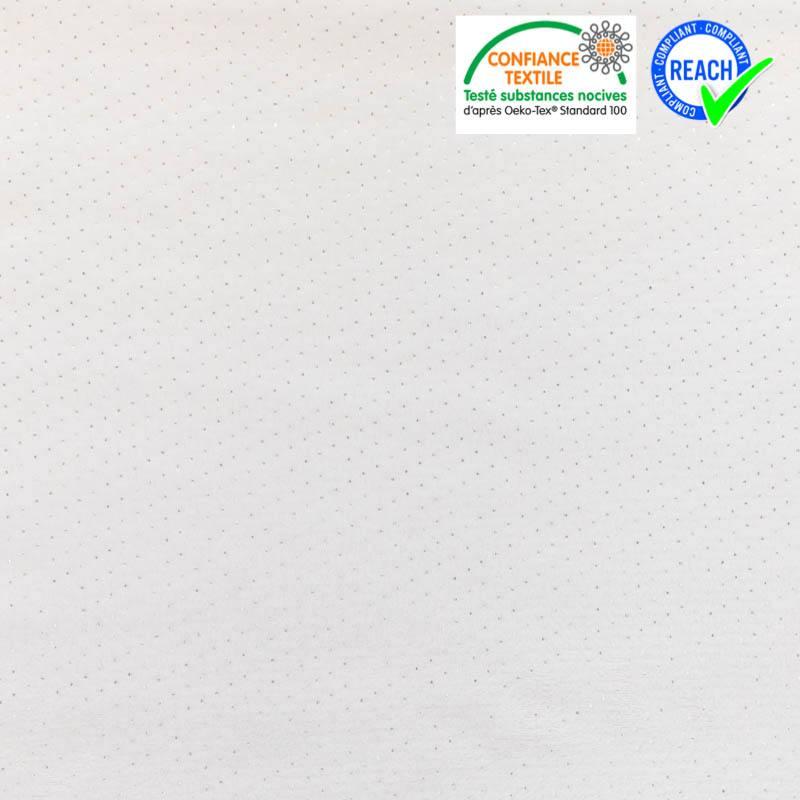 Polaire Minky blanche à pois argentés
