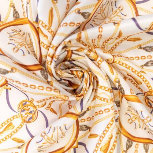 Satin écru imprimé chaine et ruban bleu et crème