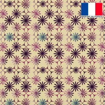Velours ras champagne motif fleurs violettes et bleues