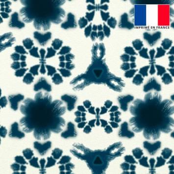 Velours ras écru imprimé abstrait bleu de prusse