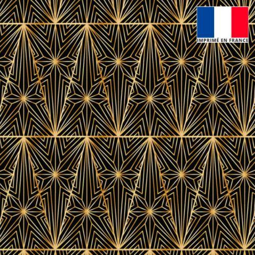 Velours ras noir motif grand triangle croisillon doré