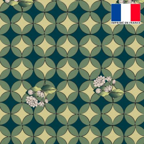 Velours bleu canard imprimé jasmin géométrique
