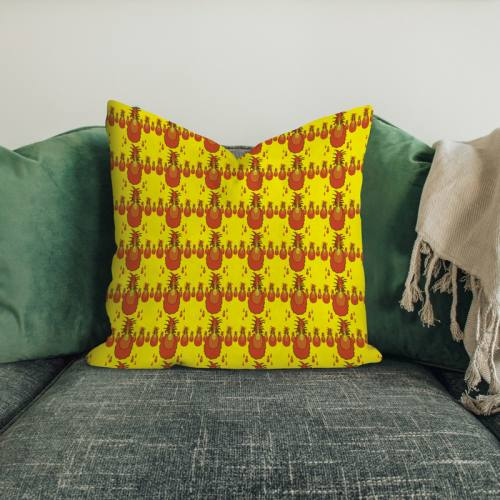 Velours ras jaune imprimé ananas orange