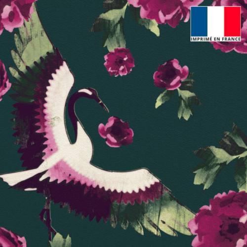 Velours ras bleu canard imprimé pivoine rose et grue