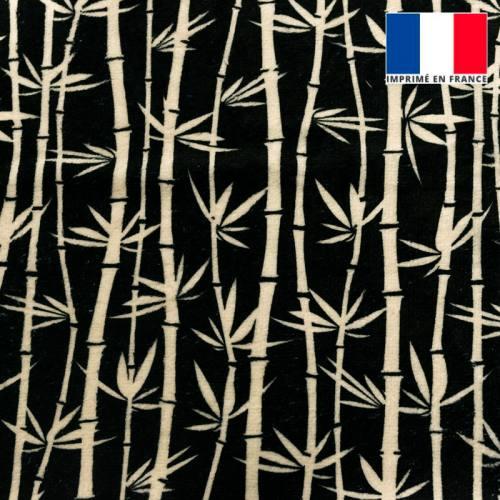 Eponge doudou bambou noire imprimée bambou écru