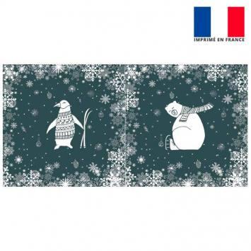 Coupon de velours ras gris foncé motif ours et pingouin 86x44cm et fermeture offerte