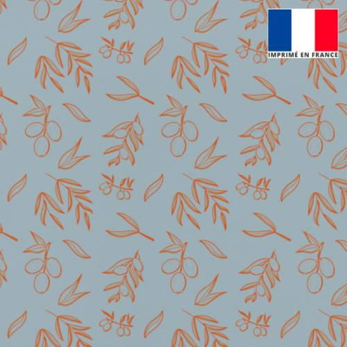 Tissu burlington bleu gris imprimé olive orange