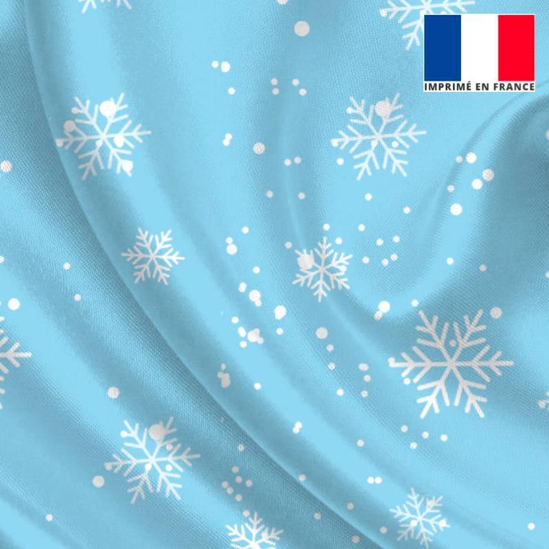 Satin bleu clair imprimé flocon de neige
