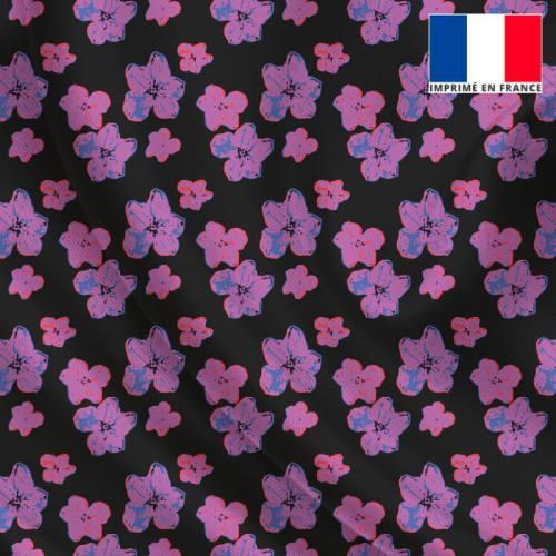 Satin noir imprimé petite fleur d'hibiscus floutée