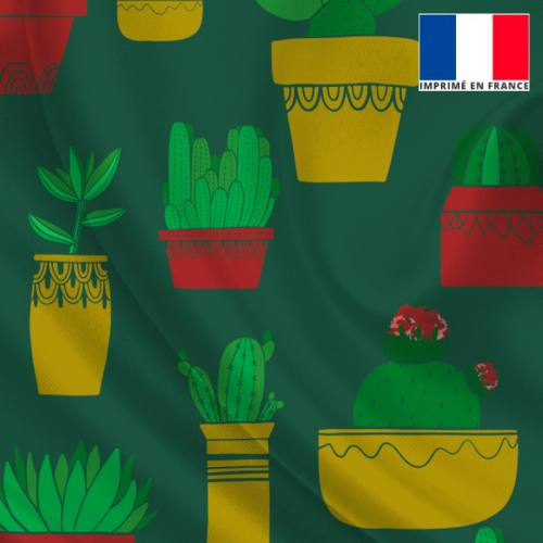 Satin vert sapin imprimé cactus et frida