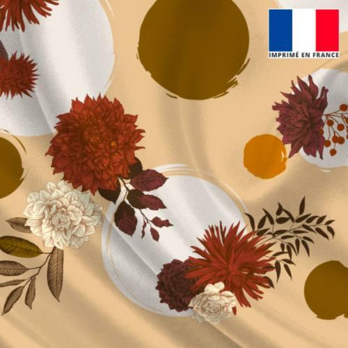 Satin vanille imprimé rond et fleur