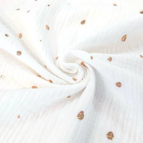 Double gaze blanche motif pois doré brillant