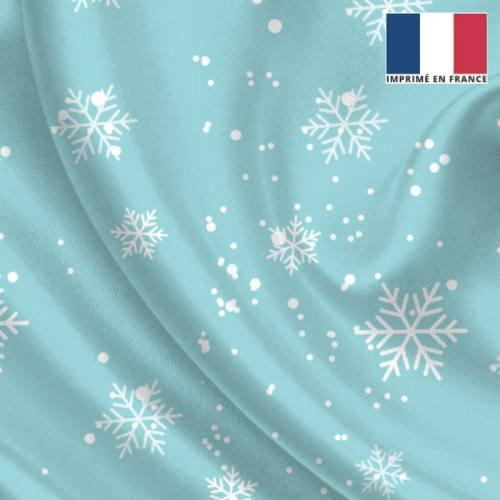 Tissu satiné bleu glacier imprimé flocon de neige