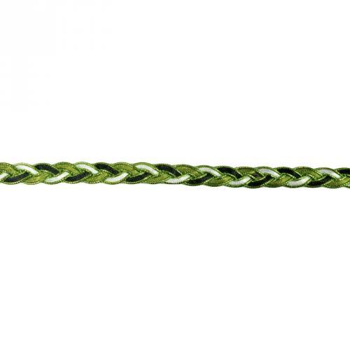 Galon fantaisie tressé 10mm noir blanc et vert métalisé