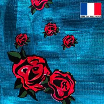 Satin bleu motif peinture et rose - Anne-Sophie Dozoul