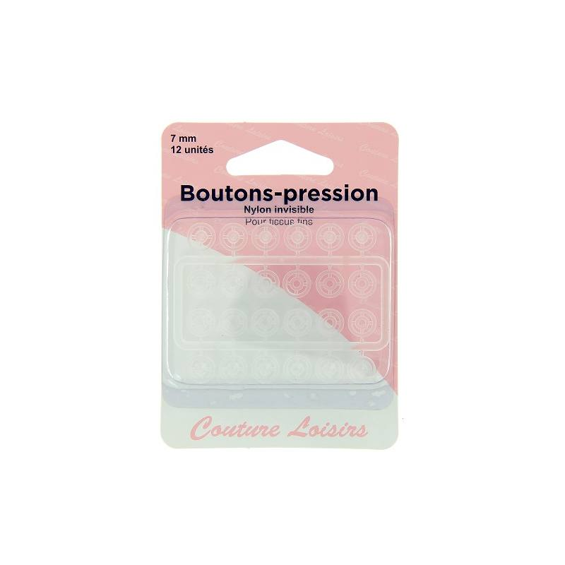 Boutons pression nylon invisible X12