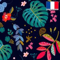 Velours ras bleu de minuit motif feuilles bleues et bleu-vert