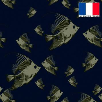 Velours ras bleu marine imprimé poisson vert-de-gris
