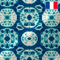 Tissu microfibre bleu imprimé tie and dye écru et vert