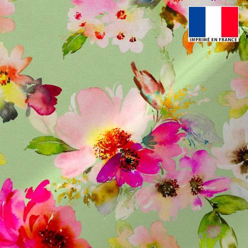 Tissu microfibre vert imprimé peinture florale rose