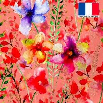 Tissu microfibre corail imprimé peinture de fleurs rouges et bleues